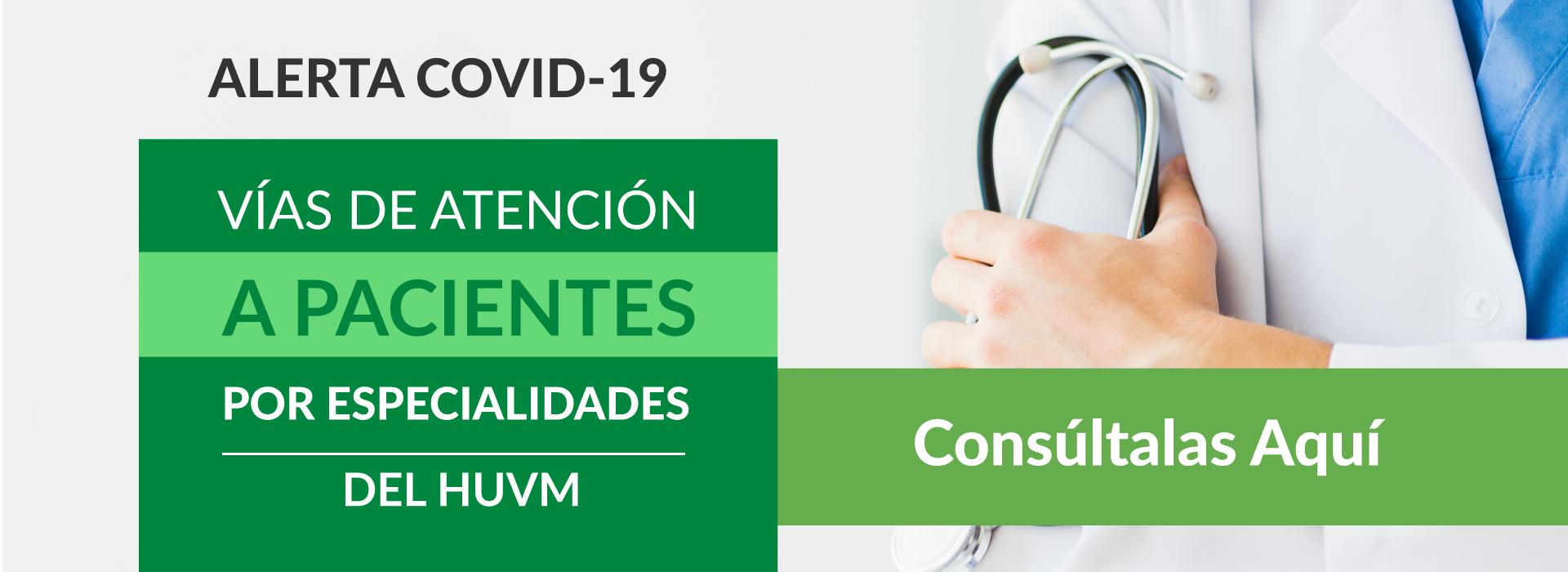 Vías de Atención al Paciente por Especialidades - Alerta Sanitaria COVID-19